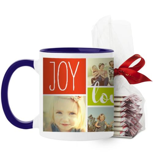 Joy Love Family Mug, Blue, with Ghirardelli Peppermint Bark, 11 oz, Multicolor