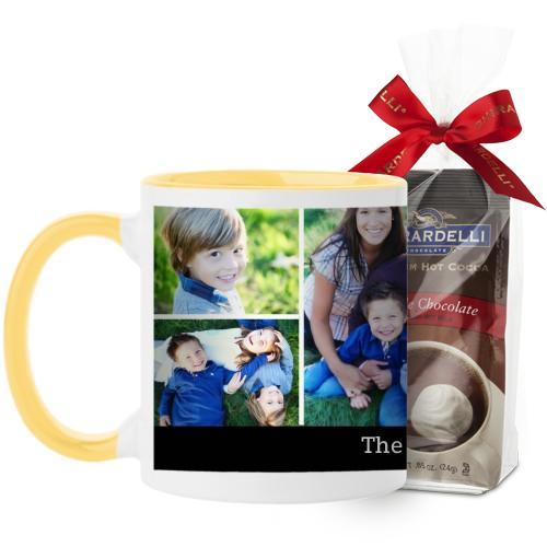 Simply Family Mug, Yellow, with Ghirardelli Premium Hot Cocoa, 11 oz, Black