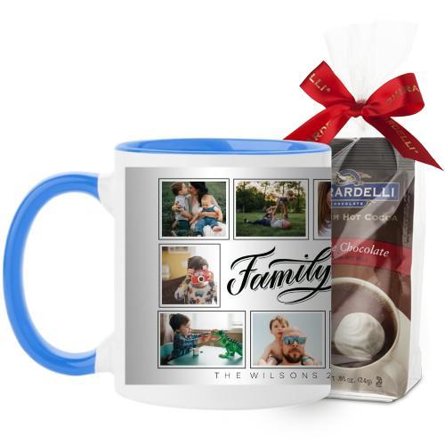 Family Script Mug, Light Blue, with Ghirardelli Premium Hot Cocoa, 11 oz, Black