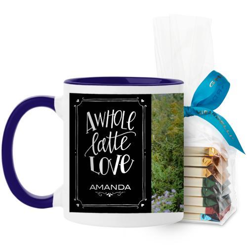 Whole Latte Love Mug, Blue, with Ghirardelli Assorted Squares, 11oz, Black