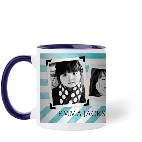 Watercolor Stripes Mug, Blue,  , 11 oz, Blue