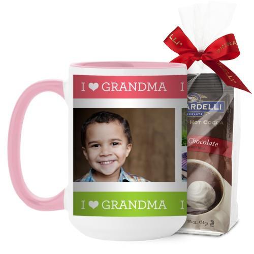 I Heart Grandma Mug, Pink, with Ghirardelli Premium Hot Cocoa, 15 oz, Pink