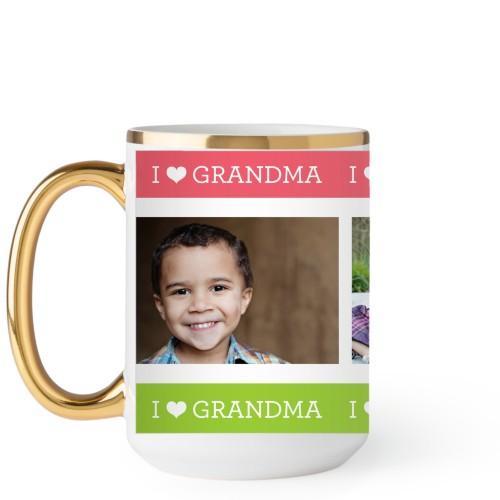 I Heart Grandma Mug, Gold Handle,  , 15 oz, Pink