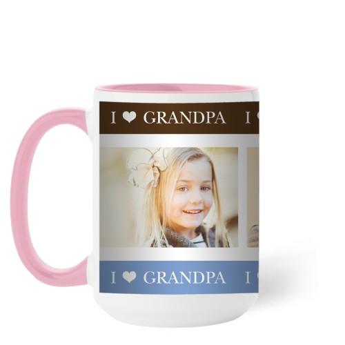 I Heart Grandpa Mug, Pink,  , 15 oz, Brown