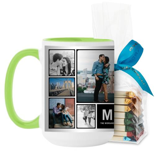 Pictogram Mug, Green, with Ghirardelli Assorted Squares, 15 oz, Black