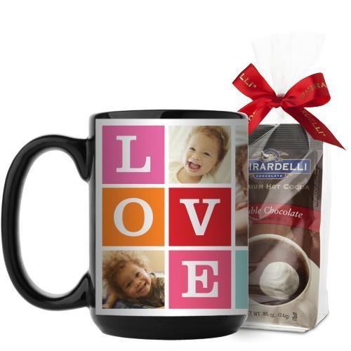 Love Mug, Black, with Ghirardelli Premium Hot Cocoa, 15 oz, Pink