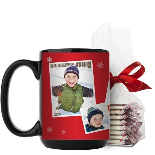Snowflakes All Around Mug, Black, with Ghirardelli Peppermint Bark, 15 oz, Red