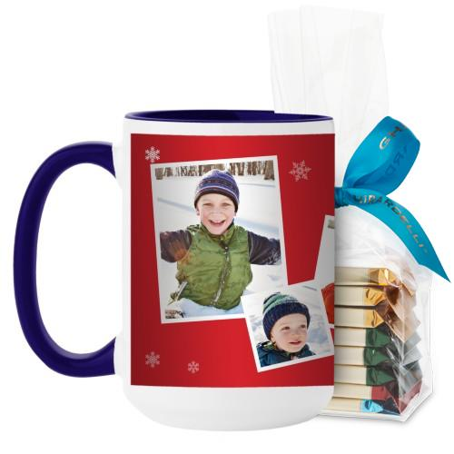 Snowflakes All Around Mug, Blue, with Ghirardelli Assorted Squares, 15oz, Red