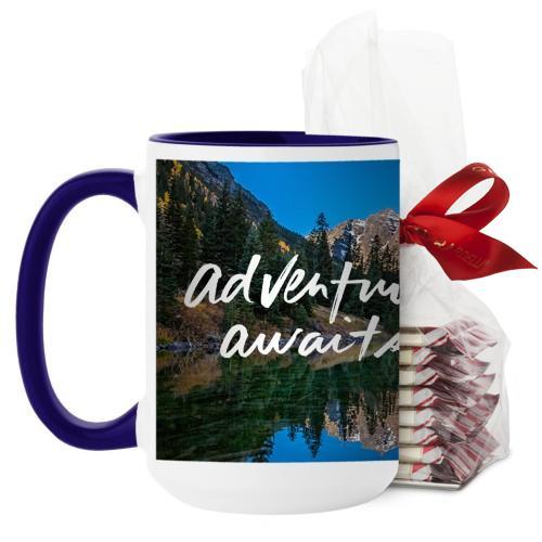 Adventure Awaits Mug, Blue, with Ghirardelli Peppermint Bark, 15 oz, White