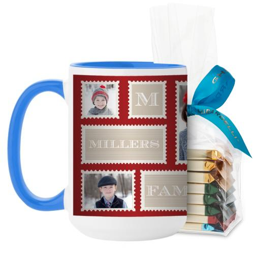 Love Family Stamps Mug, Light Blue, with Ghirardelli Assorted Squares, 15 oz, Red