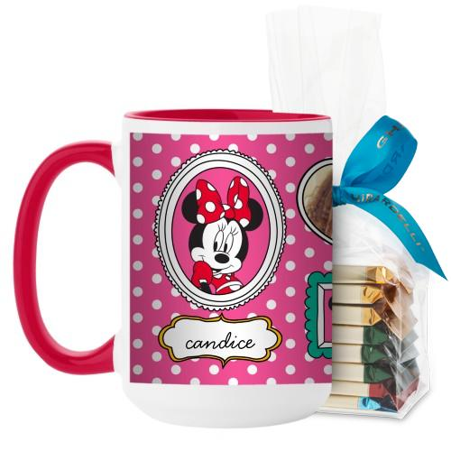 Disney Minnie And Friends Mug, Red, with Ghirardelli Assorted Squares, 15 oz, Pink