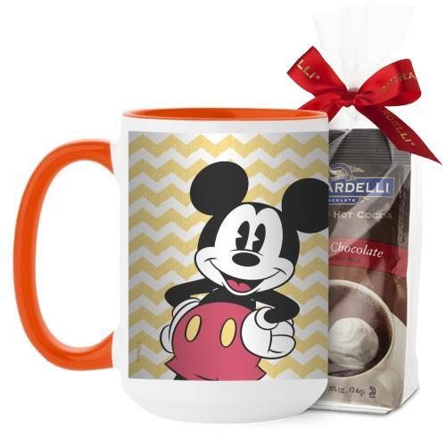 Disney Vintage Mickey Mug, Orange, with Ghirardelli Premium Hot Cocoa, 15 oz, Yellow