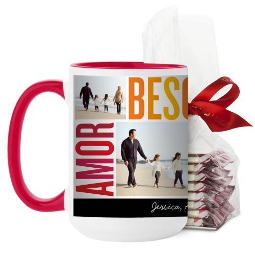 Amor Besos Familia Mug, Red, with Ghirardelli Peppermint Bark, 15oz, Red