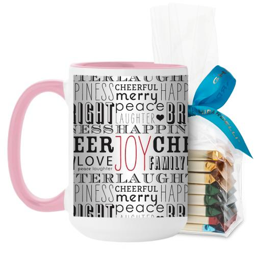 Wrapped In Holiday Mug, Pink, with Ghirardelli Assorted Squares, 15 oz, White