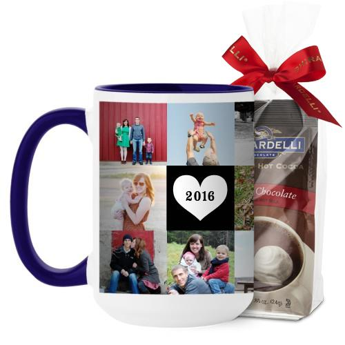 Love Grid Mug, Blue, with Ghirardelli Premium Hot Cocoa, 15 oz, Black