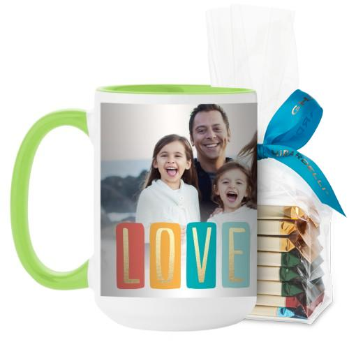 Colorful Love Mug, Green, with Ghirardelli Assorted Squares, 15 oz, White