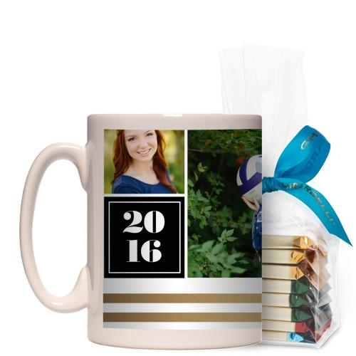Graduate Striped Border Mug, White, with Ghirardelli Assorted Squares, 15 oz, goldfoil