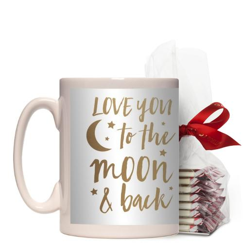 Hand Drawn Frames To the Moon Mug, White, with Ghirardelli Peppermint Bark, 15oz, goldfoil