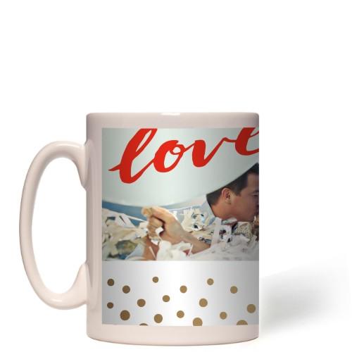 Love Script Organic Dots Border Mug