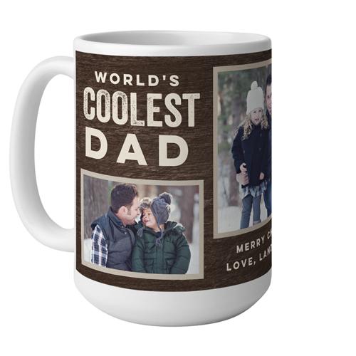 Coolest Dad Mug, White,  , 15 oz, Brown