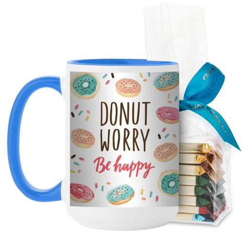 Donut Worry Be Happy Mug, Light Blue, with Ghirardelli Assorted Squares, 15 oz, White