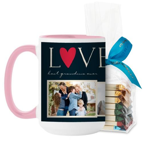 Love Collage Mug, Pink, with Ghirardelli Assorted Squares, 15oz, Black
