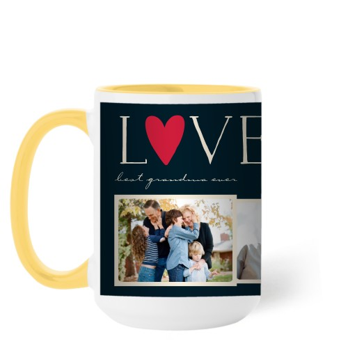 Love Collage Mug, Yellow,  , 15 oz, DynamicColor