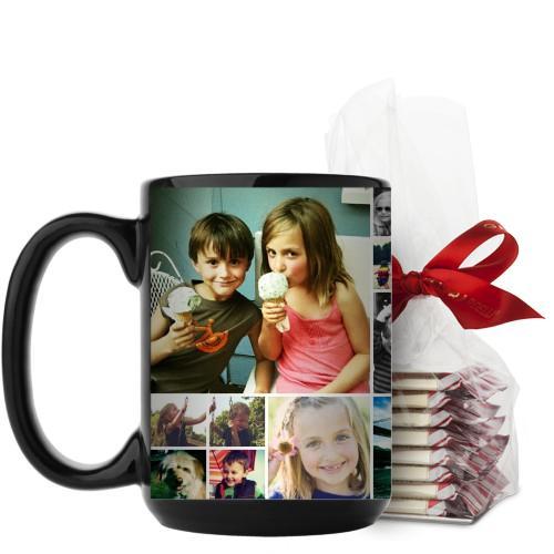 Collage Squares Mug, Black, with Ghirardelli Peppermint Bark, 15 oz, White