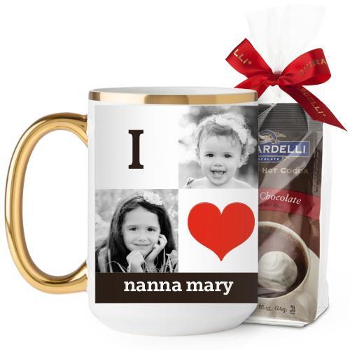 I Heart You Mug, Gold Handle, with Ghirardelli Premium Hot Cocoa, 15oz, Red