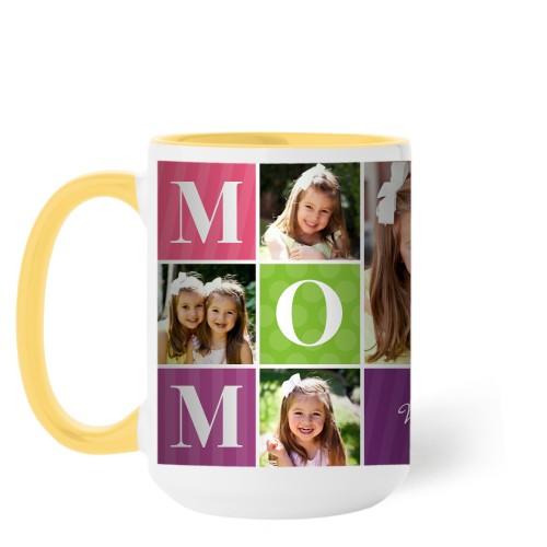 Mom Color Blocks Mug, Yellow,  , 15 oz, Multicolor