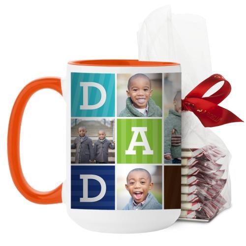 Dad Color Blocks Mug, Orange, with Ghirardelli Peppermint Bark, 15 oz, Multicolor