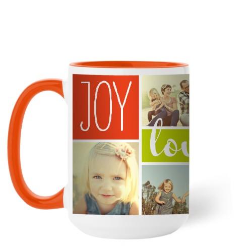 Joy Love Family Mug, Orange,  , 15 oz, Multicolor