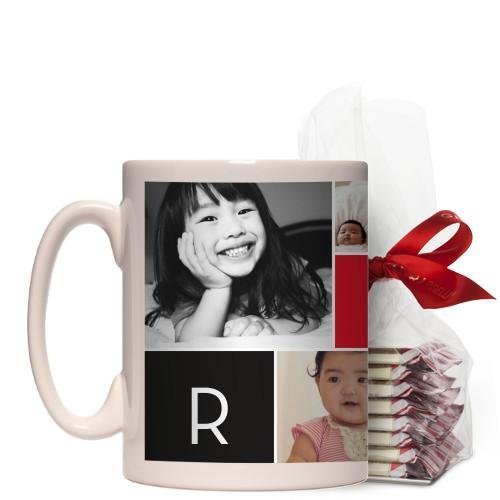 Monogram Memories Mug, White, with Ghirardelli Peppermint Bark, 15 oz, Red