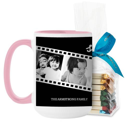 Filmstrip Fun Mug, Pink, with Ghirardelli Assorted Squares, 15 oz, Black