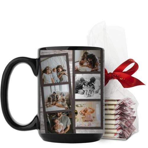 Family Filmstrips Mug, Black, with Ghirardelli Peppermint Bark, 15 oz, Brown