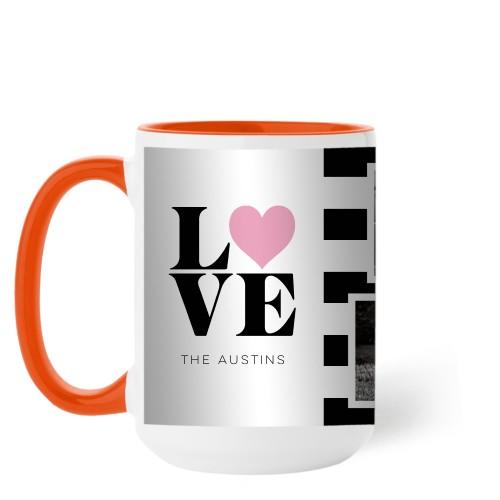 Love Block Stripes Mug, Orange,  , 15 oz, Black