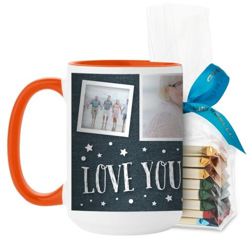 Love To The Moon and Back Denim Mug, Orange, with Ghirardelli Assorted Squares, 15 oz, Blue
