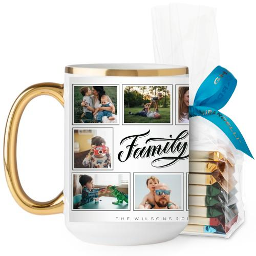 Family Script Mug, Gold Handle, with Ghirardelli Assorted Squares, 15 oz, Black