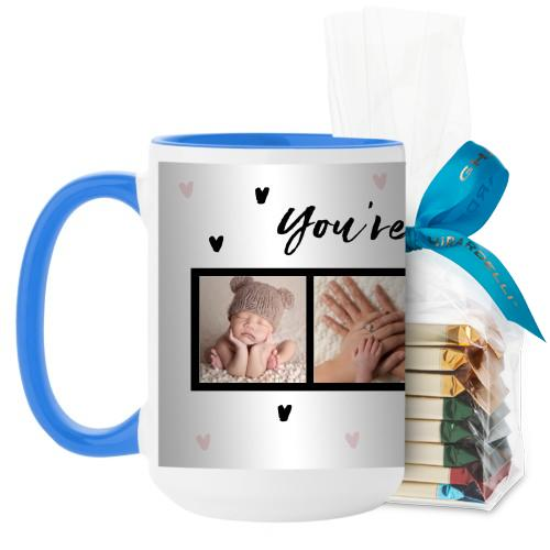 Cup of Tea Mug, Light Blue, with Ghirardelli Assorted Squares, 15 oz, Pink