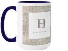 linen monogram mug