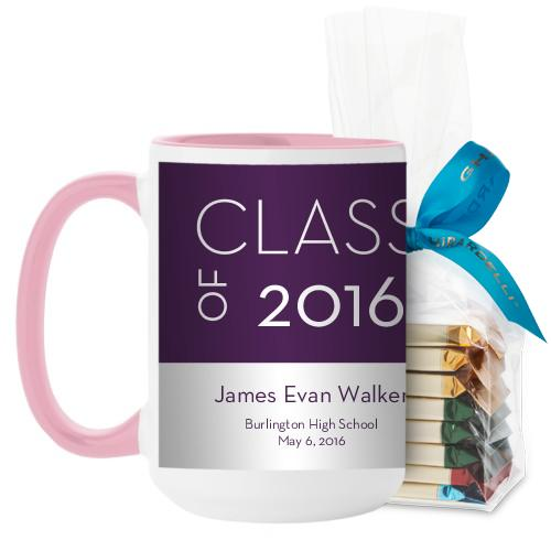 Modern Grad Mug, Pink, with Ghirardelli Assorted Squares, 15 oz, Purple