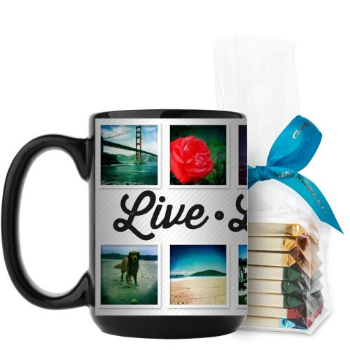 Live Laugh Love Mug, Black, with Ghirardelli Assorted Squares, 15 oz, White