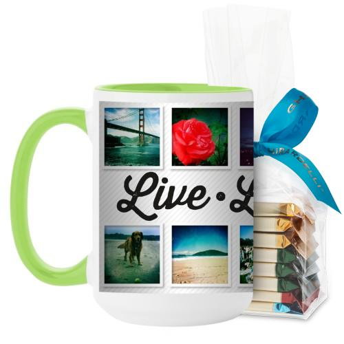 Live Laugh Love Mug, Green, with Ghirardelli Assorted Squares, 15oz, White