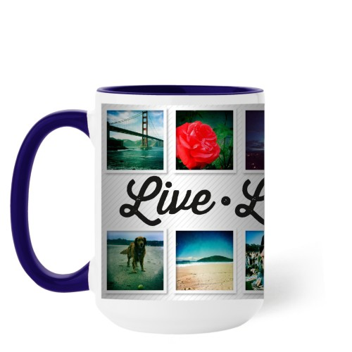 Live Laugh Love Mug, Blue,  , 15 oz, White