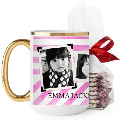 Watercolor Stripes Mug, Pink, with Ghirardelli Premium Hot Cocoa, 15 oz, Blue