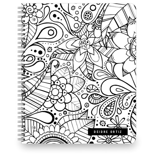 Color Me Floral Large Notebook, 8.5x11, White