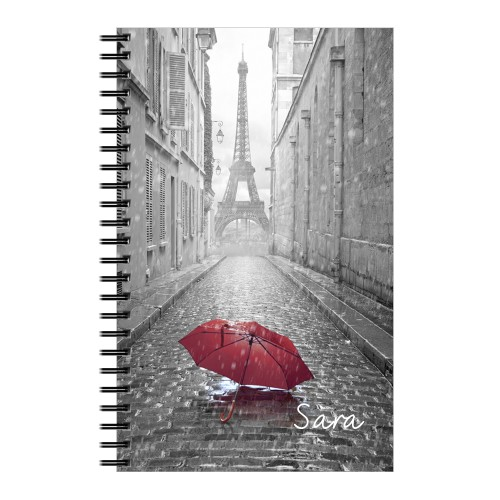 Red Umbrella in Paris 5x8 Lined Notebook