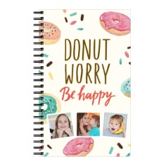 donut worry be happy 5x8 notebook