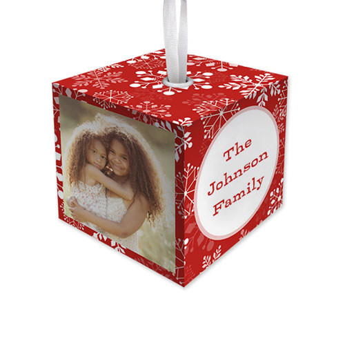 Snowflake Christmas Cube Ornament, Red, Cube