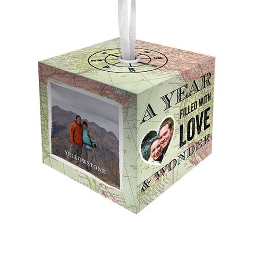 Vintage Map Cube Ornament, Beige, Cube